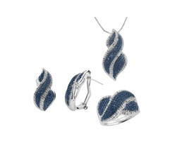 1/4 CTTW Enhanced Blue and White Diamond Jewelry Set