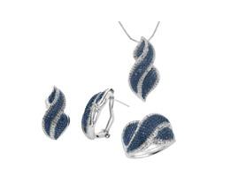 1/4 CTTW Enhanced Blue and White Diamond Jewelry Set