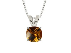 Cushion Gemstone Pendant, Citrine