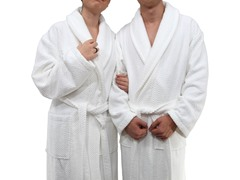 Unisex Herringbone Weave Bathrobe