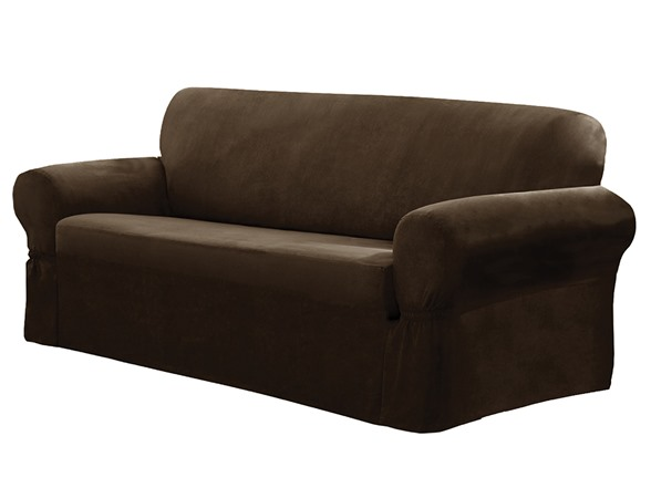 Faux Suede One Piece Slipcover Sofa