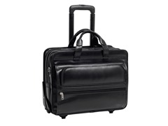 "Franklin Leather 17"" Wheeled Laptop Case"