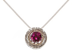 Silver & 14k Gold Ruby Pendant