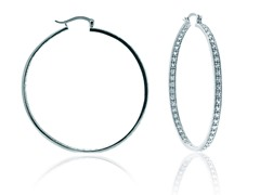 "SS Simulated Diamond 2.2"" Eternity Inside Out Round Hoop"