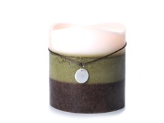 3 LED Mottled Wax Flameless Candle Layered Green 6x6