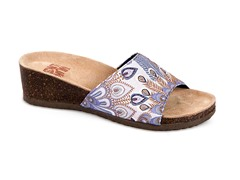 Lea Slide Wedge Sandal, Blue Peacock