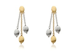 Riccova Arctic Mist Brushed Rhodium 3 Nuggets Lariat Earring