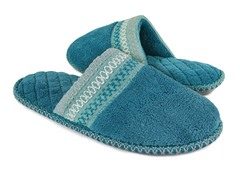 Muk Luks Cathy Micro Chenille Closed Toe Slippers, Teal