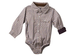 Infant Oxford Shirtzie - Eggplant & Brown (3M-6M)