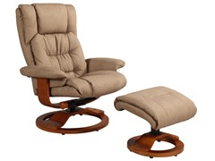 Stone Bonded Leather Recliner w/Ottoman