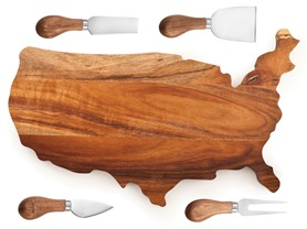 USA Cheese Board & Knives Bundle