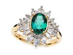 SS, Emerald & White Sapphire Cocktail Ring