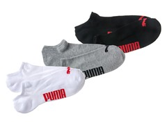 Puma Men's Wht/Grey/Blk No-Show Sock 3pk