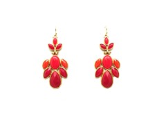 Flower Petals Red Epoxy Stone Dangling Earrings