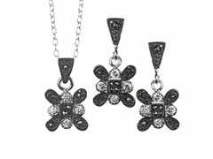 Black/White Marcasite Snowflake CZ Set