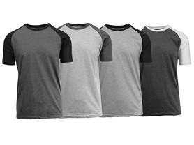 4-Pack Short Sleeve Raglan T's, 4 Colors