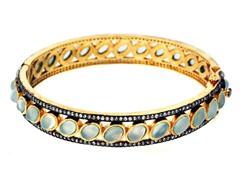 18K Gold-Plated SS Sea Green Chalcedony Semi-Precious Gemstone Bangle