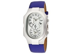 Women's Dual Time Blue Leather Watch