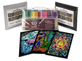 Stuff2Color Fuzzy Velvet Posters 36-Pack & Markers 50-Pack