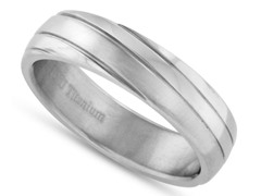 Brushed Finish Grooved Titanium Ring
