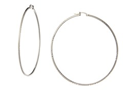 Sterling Silver Diamond Cut Hoop Earrings