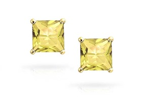 14K Gold Princess Cut Swarovski Elements Stud Earrings
