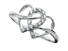 Sterling Silver and CZ Intertwined Heart