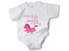 """Demand a Pony"" in White (0-12 mos)"
