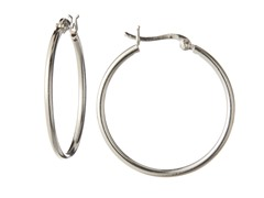 Sterling Silver Hoop Earrings, 30mm