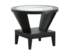 Round Glass Espresso End Table