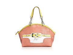 Guess Mikelle East/West Satchel Handbag, Coral Multi