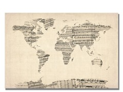Old Sheet Music World Map Canvas