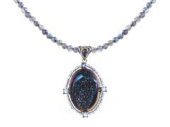 SS Steely Blue Drusy Quartz, Iolite Beads Pendant
