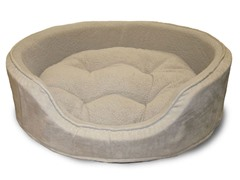 PAW Cuddle Round Suede Terry Pet Bed - Clay