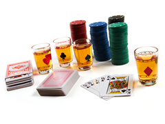 Poker Set  & 4 Shot Glasses