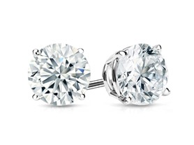 Sterling Silver Diamond Studs, 0.5-1.5CTTW