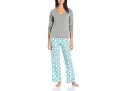 Dearfoams Longsleeve Pocket Tee Pajama Set, Penguins