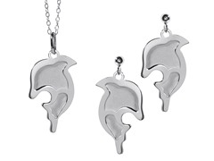 2-Flat Layered Dolphin Earring & Pendant