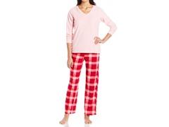 Dearfoams Longsleeve Pocket Tee Pajama Set, Pink