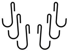 Black Pot Rack Hooks 6-pk