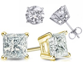 Certified 14kt Gold & Diamond Studs, 0.5-1.5 CTTW