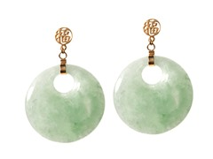 14kt, Jade Drop, Chinese Characters, Earring
