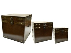 Wooden Trunks Set of 3