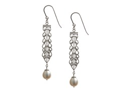 SS, Lace & Freshwater Pearl Drop Earring