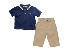 2-Pc Navy Polo Twill Sets (12M-24M)