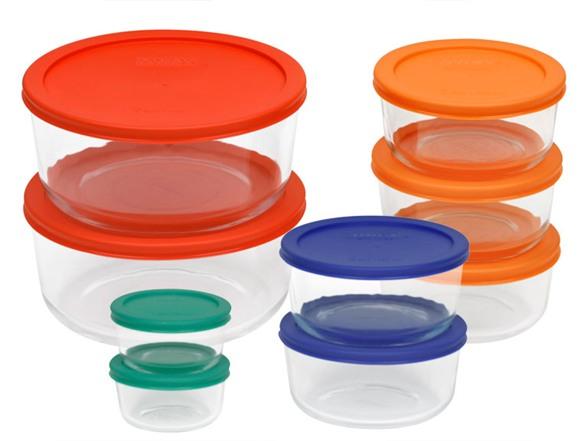 pyrex 18 piece storage set color lids. Black Bedroom Furniture Sets. Home Design Ideas