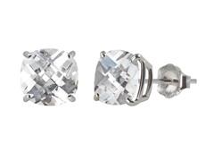 10K WG Stud Earrings, Created Sapphire