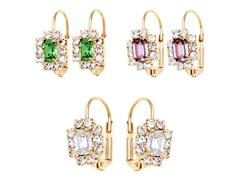 Green, Purple, & White Crystal Frame Set of 3 Huggie Earring