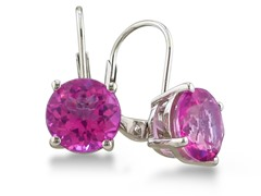 5ct Pink Sapphire Earrings in Sterling Silver