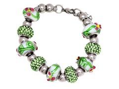 SS Murano Bracelet w/ Green-Mix Charm